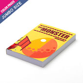 Custom jumbo size perfect bound booklet with colored pages (up to 72 pages)