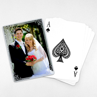 Wedding Photo Playing Cards – Silver Shine