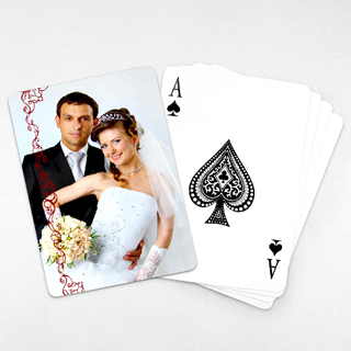 Wedding Photo Playing Cards – Cranberry Lace