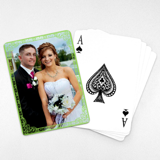 Wedding Photo Playing Cards – Green Antique