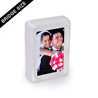 Custom hinged plastic box for 54 bridge playing cards