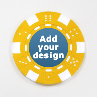 Custom Striped Dice Poker Chip in Yellow