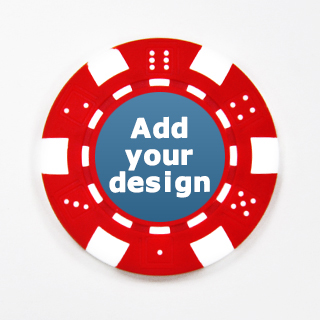 Red Striped Dice Poker Chip with Own Image