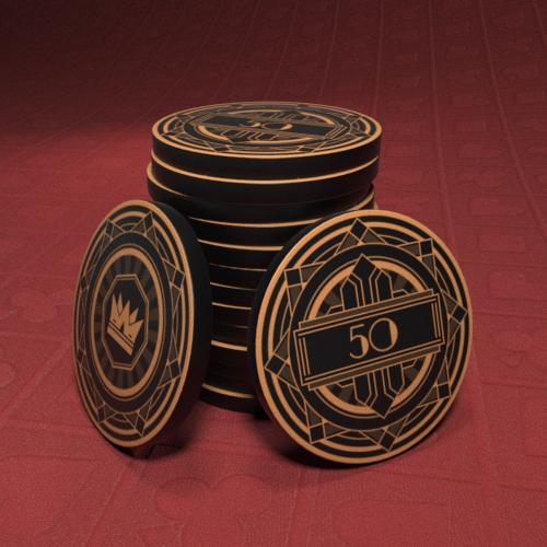 Black Crown: Art Deco - $50 Poker Chip